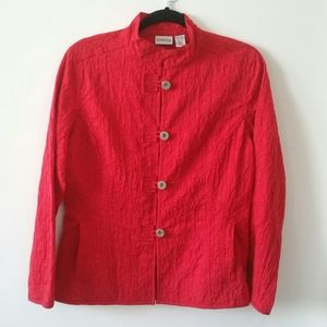 Chico's red textured jacket